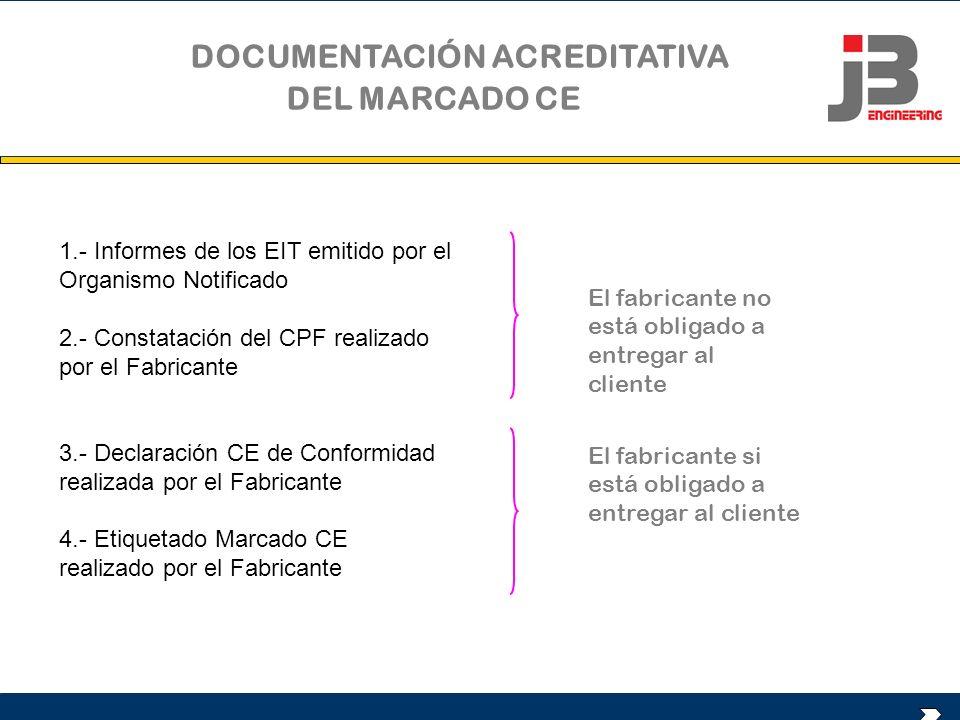 1.- Informes de los EIT emitido por el Organismo Notificado 2.- Constatación del CPF realizado por el Fabricante 3.- Declaración CE de Conformidad rea