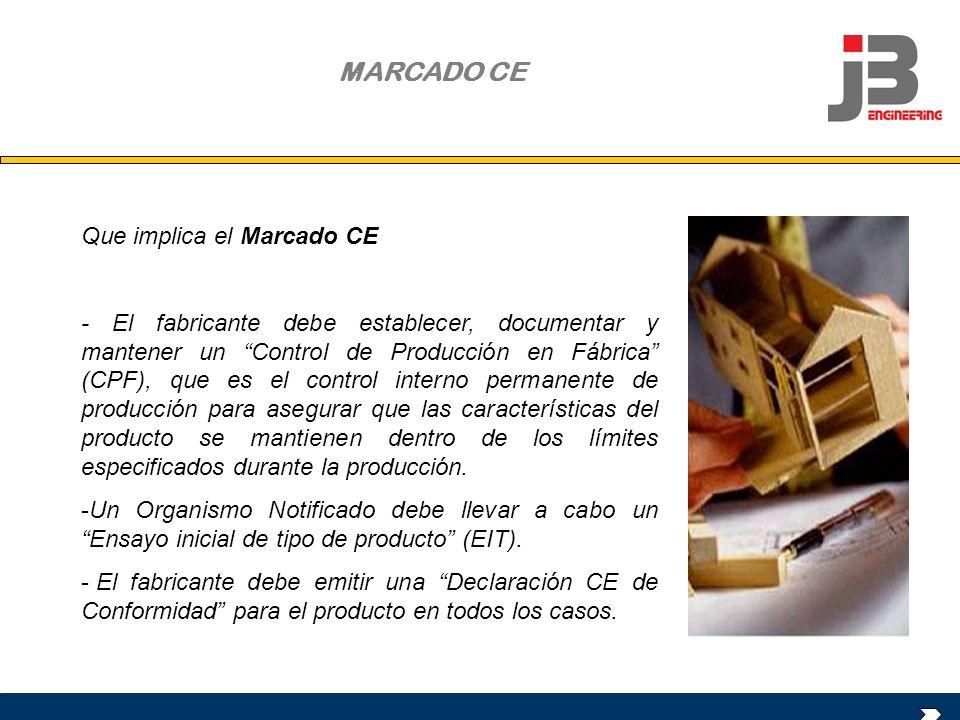OBJETO DE LA REUNIÓN Que implica el Marcado CE - El fabricante debe establecer, documentar y mantener un Control de Producción en Fábrica (CPF), que e