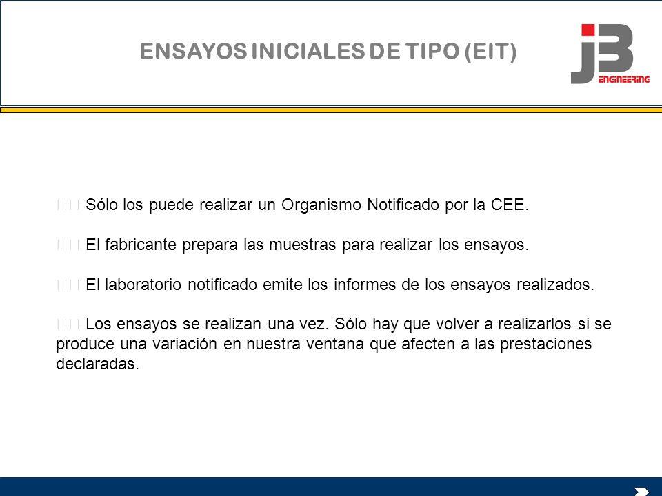 ENSAYOS INICIALES DE TIPO (EIT) Sólo los puede realizar un Organismo Notificado por la CEE. El fabricante prepara las muestras para realizar los ensay