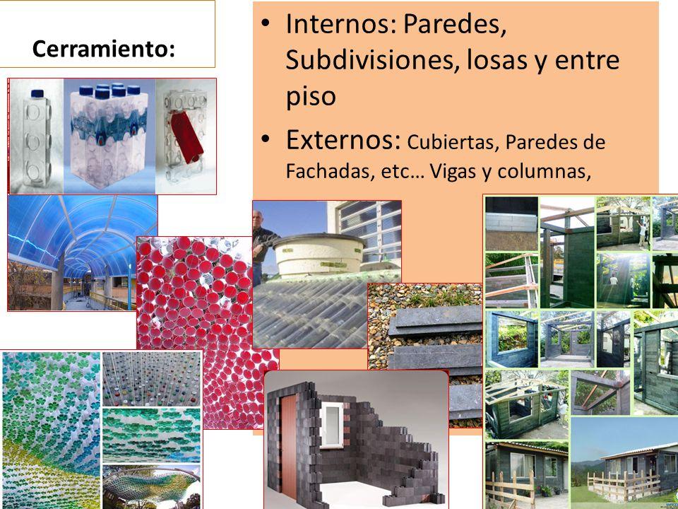 Cerramiento: Internos: Paredes, Subdivisiones, losas y entre piso Externos: Cubiertas, Paredes de Fachadas, etc… Vigas y columnas,