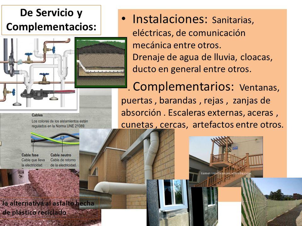 Instalaciones: Sanitarias, eléctricas, de comunicación mecánica entre otros. Drenaje de agua de lluvia, cloacas, ducto en general entre otros.. Comple