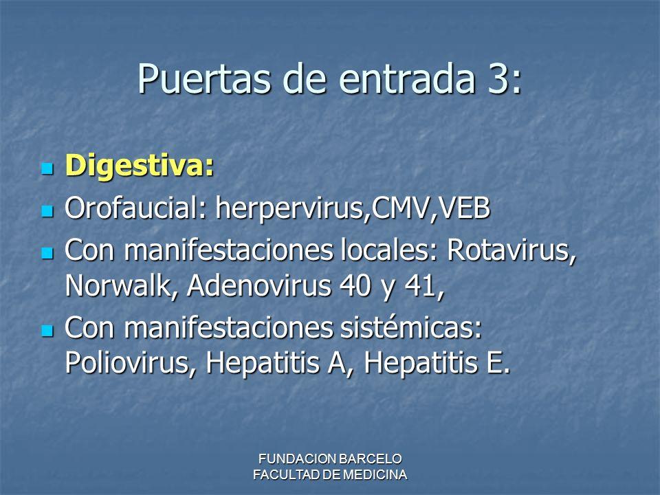 FUNDACION BARCELO FACULTAD DE MEDICINA Puertas de entrada 3: Digestiva: Digestiva: Orofaucial: herpervirus,CMV,VEB Orofaucial: herpervirus,CMV,VEB Con