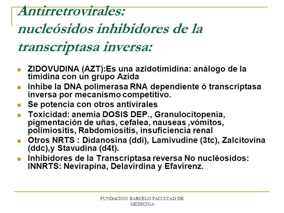 FUNDACION BARCELO FACULTAD DE MEDICINA Antirretrovirales: nucleósidos inhibidores de la transcriptasa inversa: ZIDOVUDINA (AZT):Es una azidotimidina: