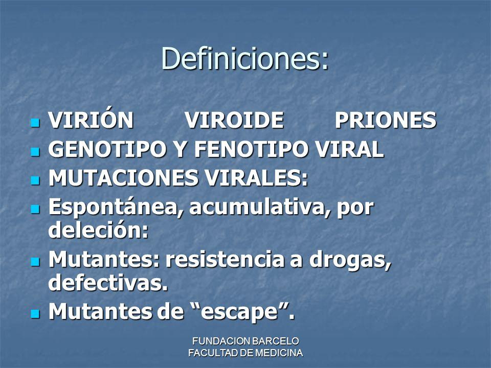 Definiciones: VIRIÓN VIROIDE PRIONES VIRIÓN VIROIDE PRIONES GENOTIPO Y FENOTIPO VIRAL GENOTIPO Y FENOTIPO VIRAL MUTACIONES VIRALES: MUTACIONES VIRALES