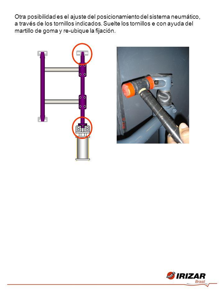 Otra posibilidad es el ajuste del posicionamiento del sistema neumático, a través de los tornillos indicados. Suelte los tornillos e con ayuda del mar