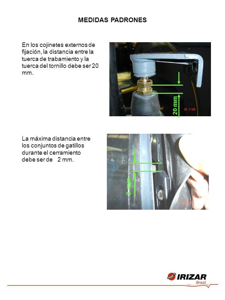 MEDIDAS PADRONES En los cojinetes externos de fijación, la distancia entre la tuerca de trabamiento y la tuerca del tornillo debe ser 20 mm. 20 mm La