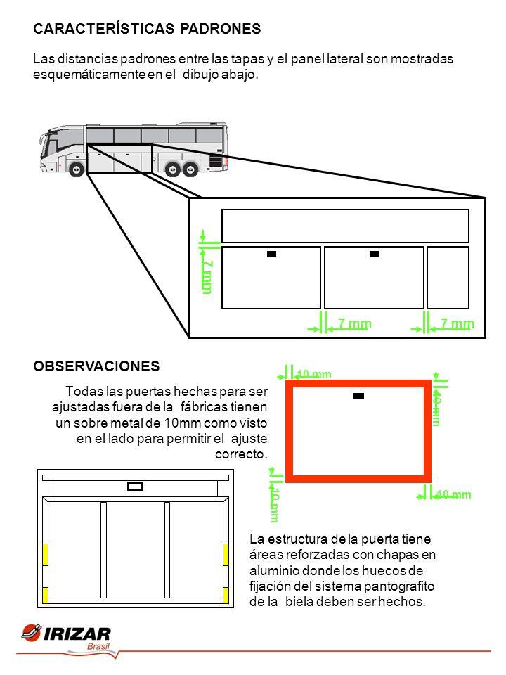 CARACTERÍSTICAS PADRONES 7 mm Las distancias padrones entre las tapas y el panel lateral son mostradas esquemáticamente en el dibujo abajo. OBSERVACIO