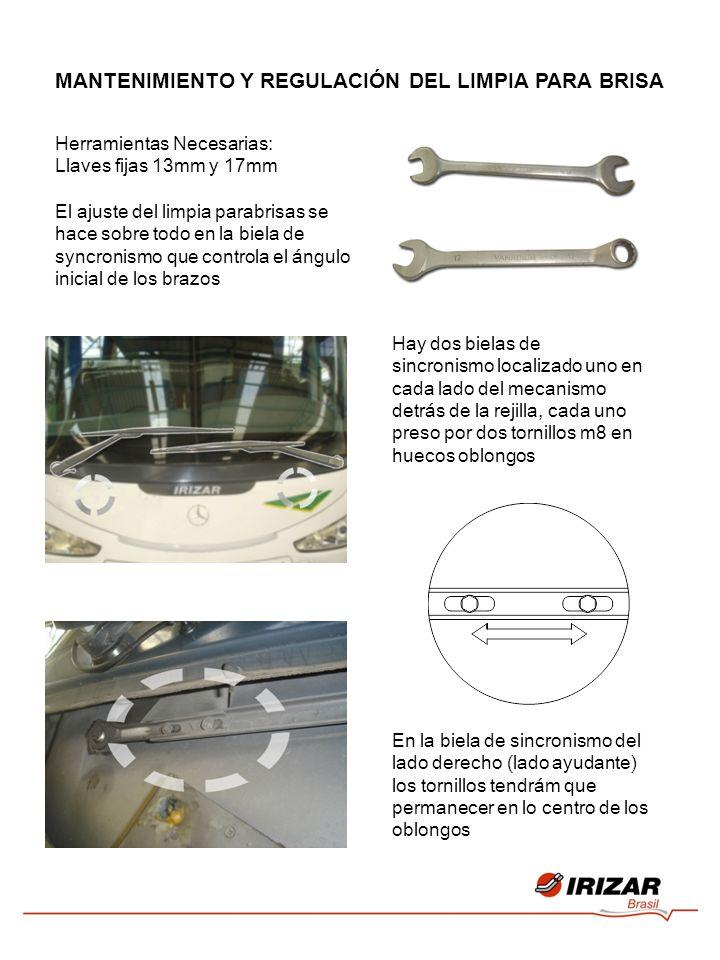 Herramientas Necesarias: Llaves fijas 13mm y 17mm El ajuste del limpia parabrisas se hace sobre todo en la biela de syncronismo que controla el ángulo