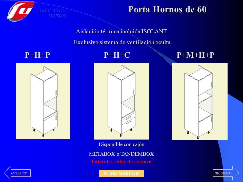 Porta Hornos de 60 Disponible con cajón METABOX o TANDEMBOX P+H+PP+H+CP+M+H+P Aislación térmica incluida ISOLANT Exclusivo sistema de ventilación ocul