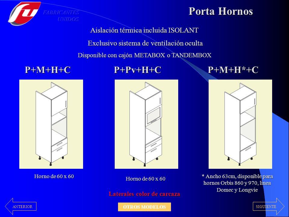 Porta Hornos P+M+H+CP+Pv+H+CP+M+H*+C Aislación térmica incluida ISOLANT Exclusivo sistema de ventilación oculta Exclusivo sistema de ventilación ocult