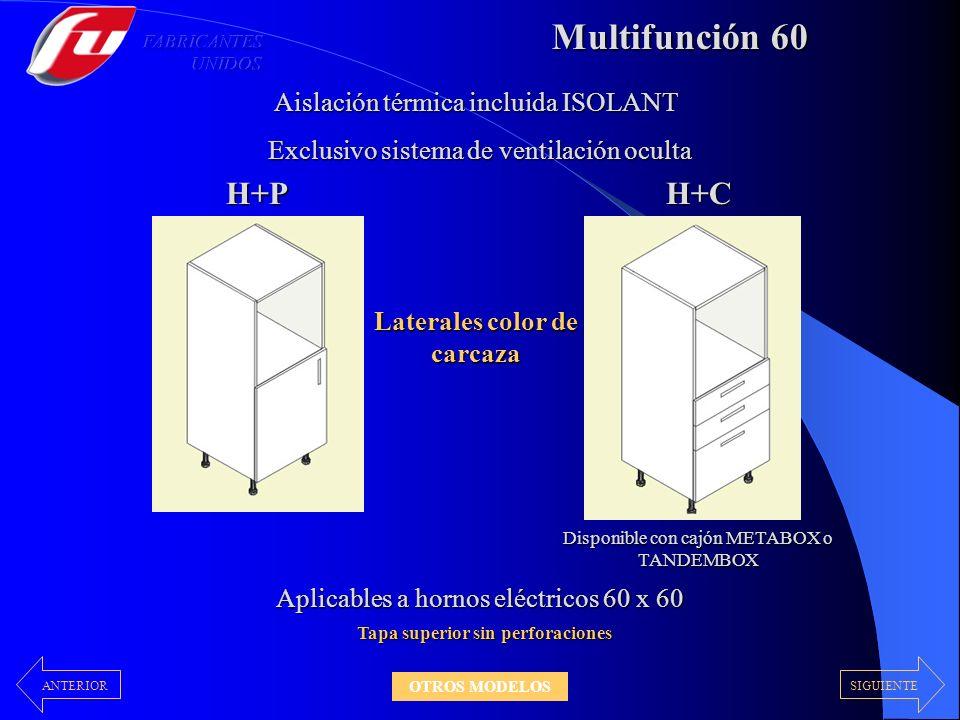 Multifunción 60 H+PH+C Disponible con cajón METABOX o TANDEMBOX Aislación térmica incluida ISOLANT Exclusivo sistema de ventilación oculta Exclusivo s