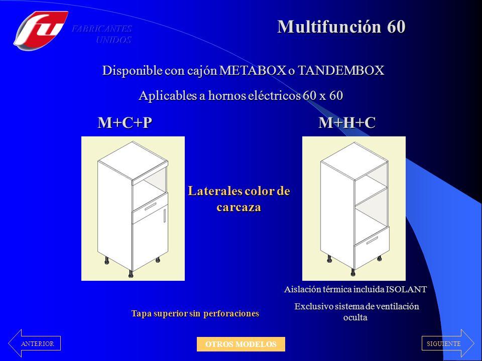 Multifunción 60 M+C+PM+H+C Disponible con cajón METABOX o TANDEMBOX Aislación térmica incluida ISOLANT Exclusivo sistema de ventilación oculta Exclusi