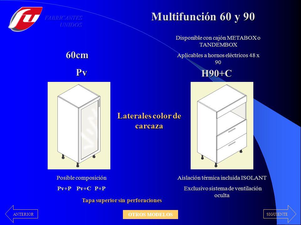 Multifunción 60 y 90 Pv H90+C Disponible con cajón METABOX o TANDEMBOX Aplicables a hornos eléctricos 48 x 90 Aislación térmica incluida ISOLANT Exclu