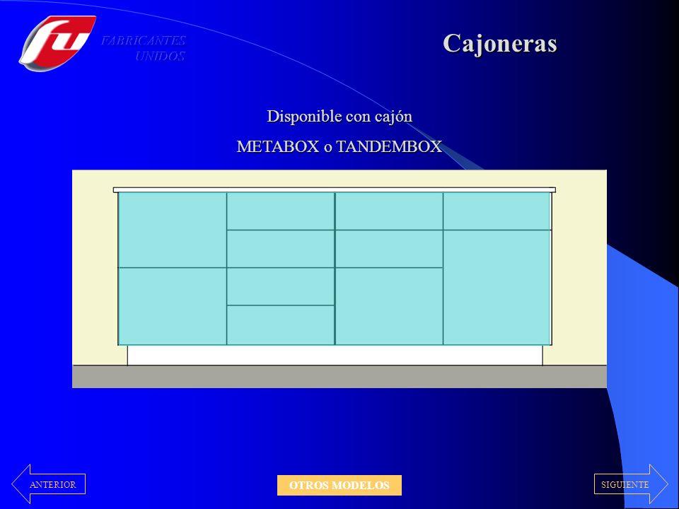 Despenseros Con Puertas Puerta + Cajón Extraible Disponible con cajón METABOX o TANDEMBOX Exclusivo sistema de extracción con cajones TANDEMBOX 30 – 40 – 45 – 60 cm 40 – 45 – 60 cm 40 – 45 – 60 cm 40 – 45 cm Laterales color de carcaza SIGUIENTEANTERIOR OTROS MODELOS