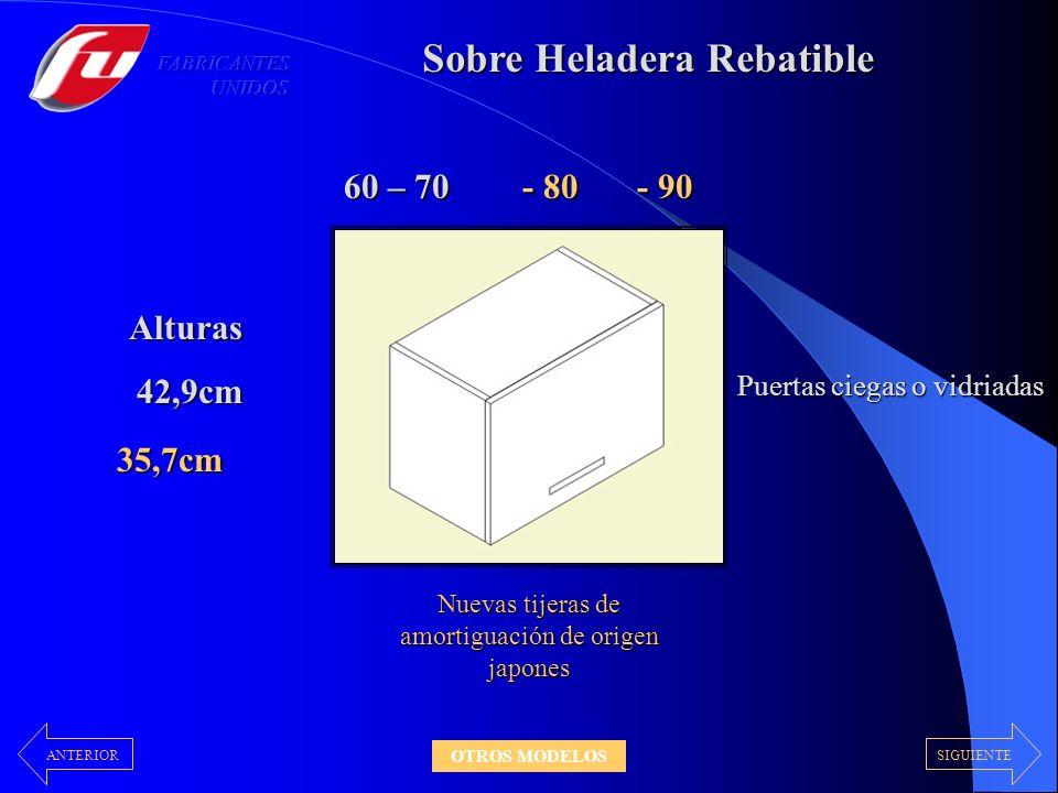 Sobre Heladera Rebatible 60 – 70 Alturas 42,9cm 42,9cm Nuevas tijeras de amortiguación de origen japones Puertas ciegas o vidriadas - 80 - 90 35,7cm S