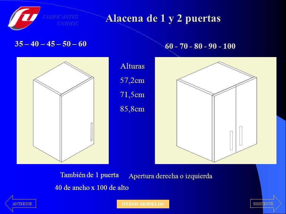 Alacena de 1 y 2 puertas 35 – 40 – 45 – 50 – 60 Alturas57,2cm71,5cm85,8cm Apertura derecha o izquierda 60 - 70 - 80 - 90 - 100 También de 1 puerta 40