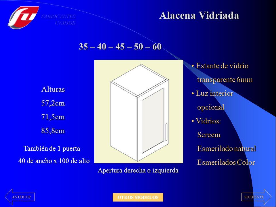 Alacena Vidriada 35 – 40 – 45 – 50 – 60 Alturas57,2cm71,5cm85,8cm Estante de vidrio Estante de vidrio transparente 6mm transparente 6mm Luz interior L