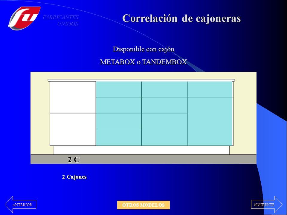 Correlación de cajoneras 2 C Disponible con cajón METABOX o TANDEMBOX 2 Cajones 4 C 4 Cajones SIGUIENTEANTERIOR OTROS MODELOS