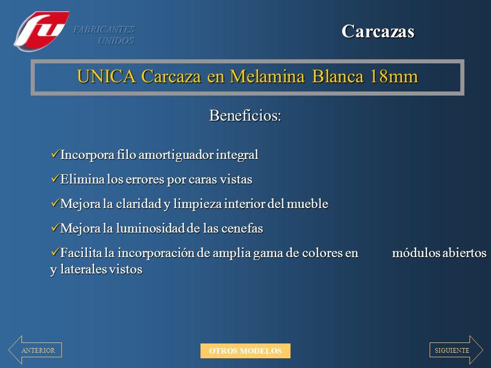 Carcazas UNICA Carcaza en Melamina Blanca 18mm Beneficios: Incorpora filo amortiguador integral Incorpora filo amortiguador integral Elimina los error