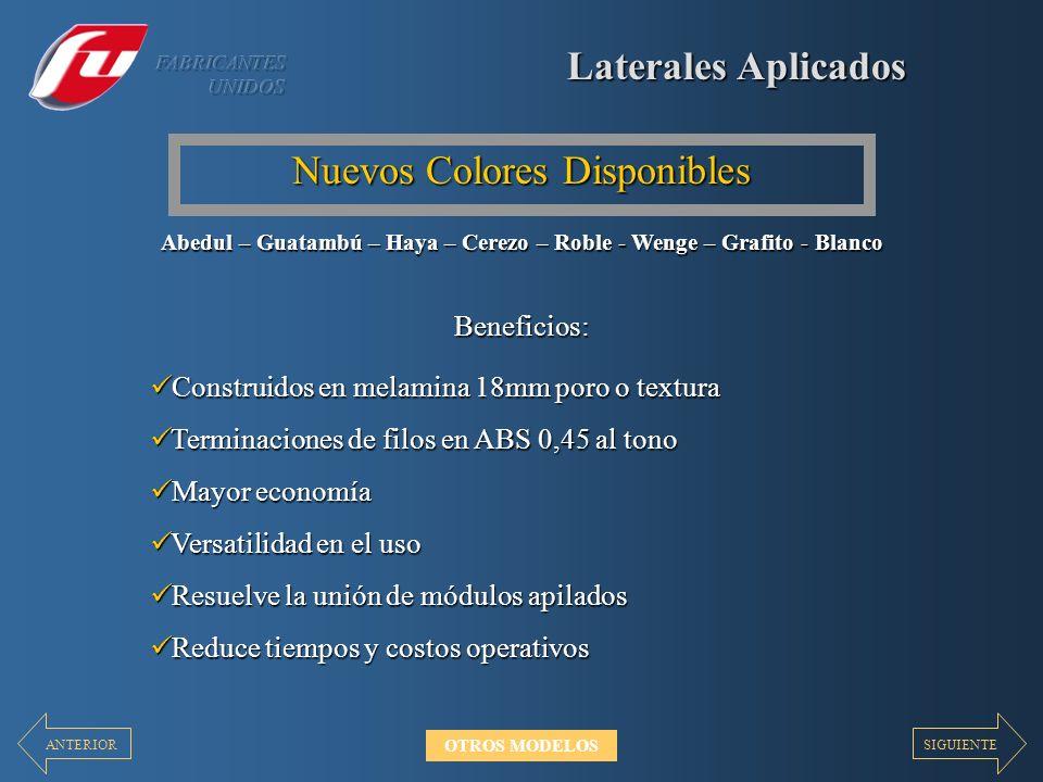 Laterales Aplicados Nuevos Colores Disponibles Construidos en melamina 18mm poro o textura Construidos en melamina 18mm poro o textura Terminaciones d