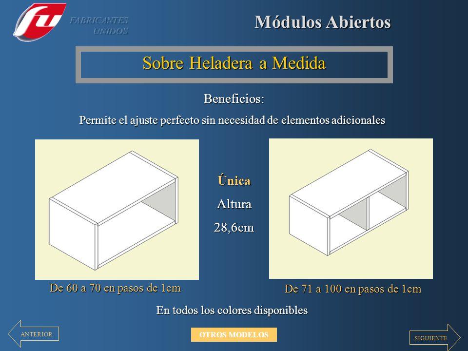 Módulos Abiertos Sobre Heladera a Medida Beneficios: Permite el ajuste perfecto sin necesidad de elementos adicionales ÚnicaAltura28,6cm En todos los