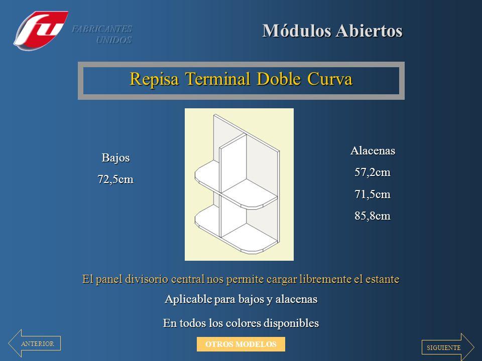 Módulos Abiertos Repisa Terminal Doble Curva El panel divisorio central nos permite cargar libremente el estante En todos los colores disponibles Apli
