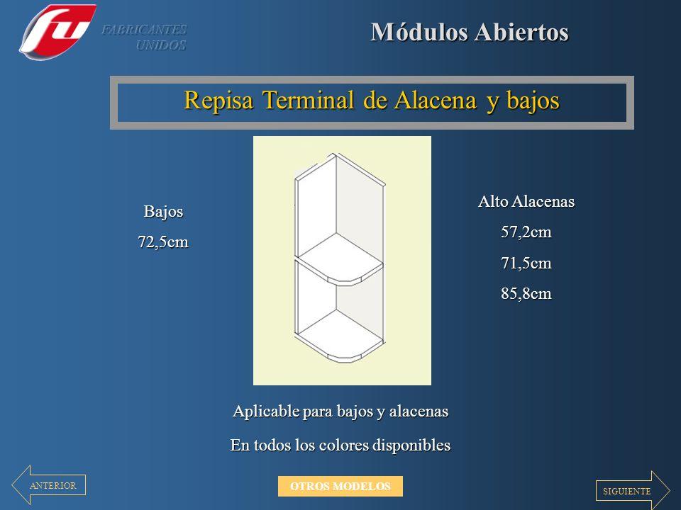 Módulos Abiertos Repisa Terminal de Alacena y bajos En todos los colores disponibles Aplicable para bajos y alacenas Alto Alacenas 57,2cm71,5cm85,8cm