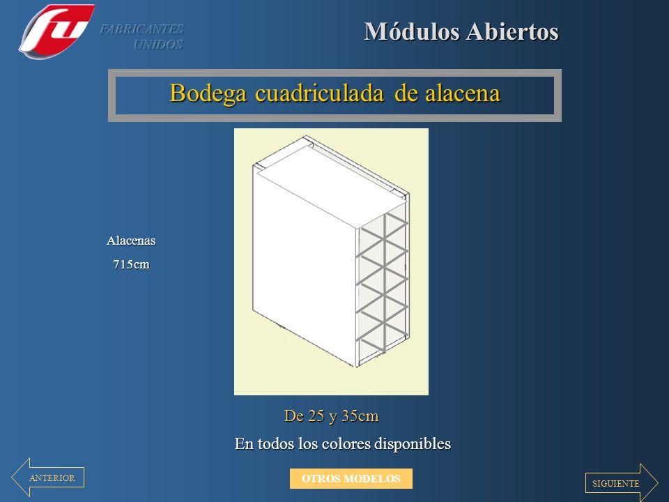 Módulos Abiertos Bodega cuadriculada de alacena En todos los colores disponibles De 25 y 35cm Alacenas715cm SIGUIENTE ANTERIOR OTROS MODELOS