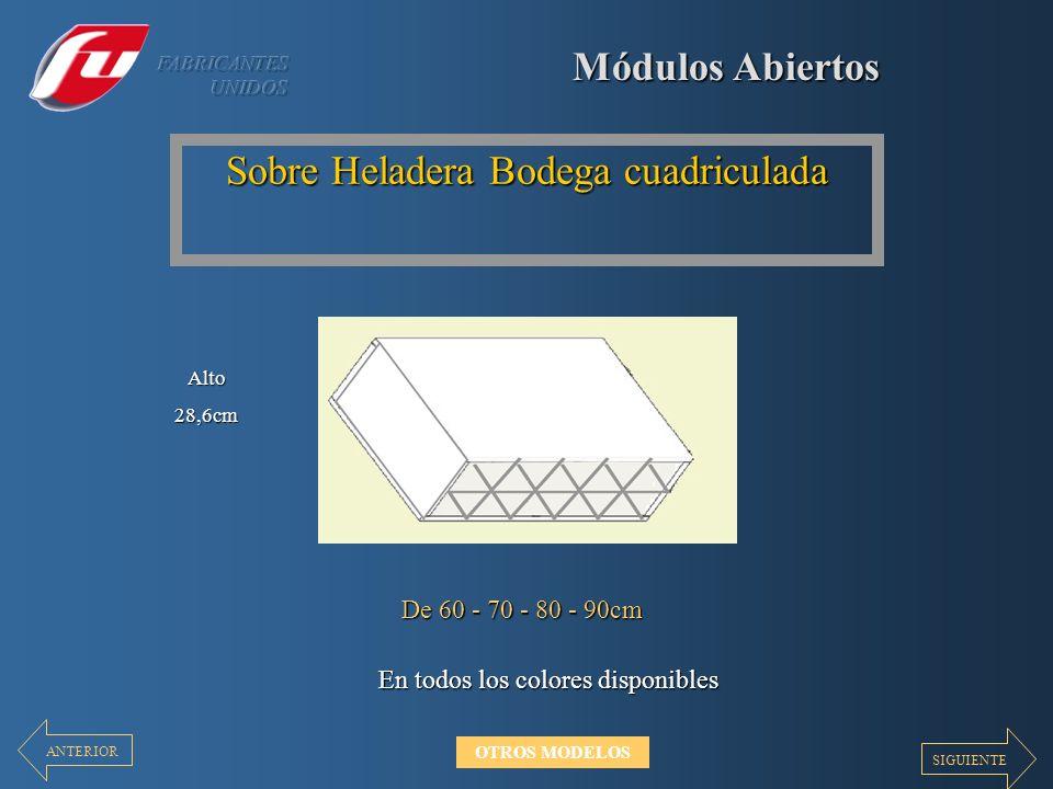 Módulos Abiertos Sobre Heladera Bodega cuadriculada En todos los colores disponibles De 60 - 70 - 80 - 90cm Alto28,6cm SIGUIENTE ANTERIOR OTROS MODELO