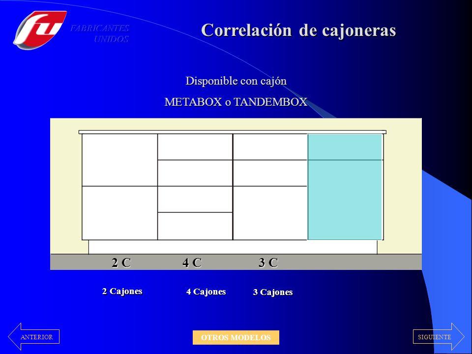 Correlación de cajoneras 2 C 4 C 3 C C + P 2 Cajones 4 Cajones 3 Cajones Cajón y Puerta Disponible con cajón METABOX o TANDEMBOX 40cm - 45cm - 50cm - 60cm SIGUIENTEANTERIOR OTROS MODELOS