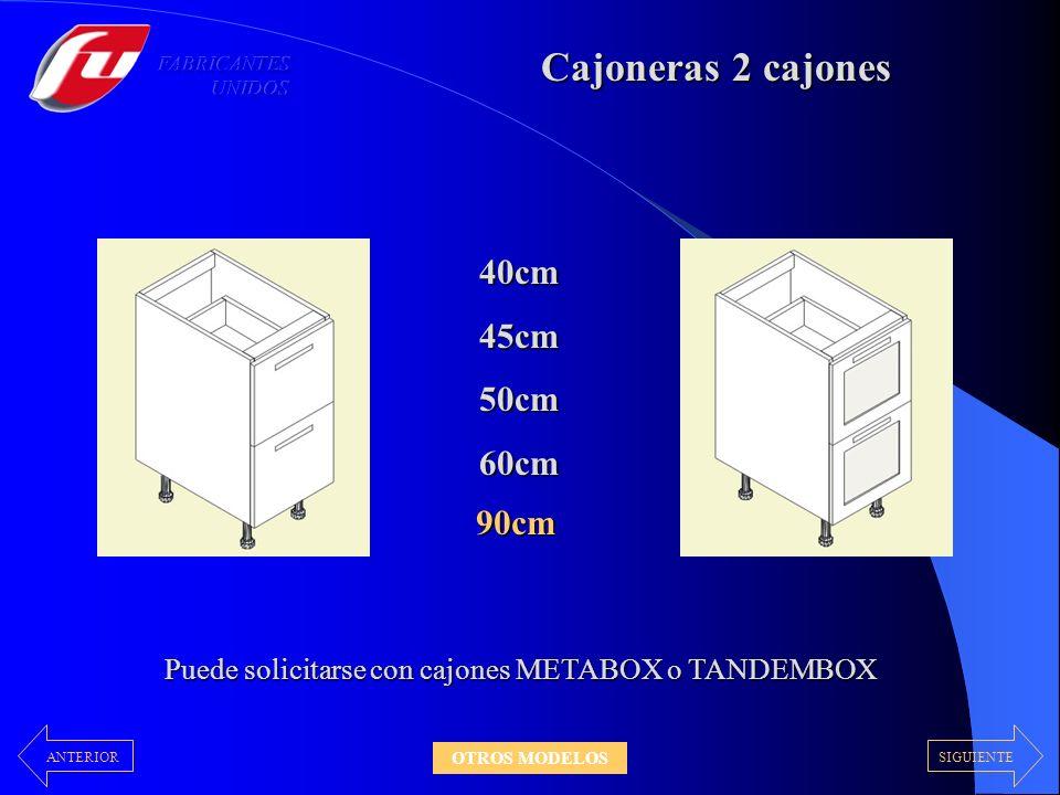 Con cajón superior Bajo cajón - puerta Puede solicitarse con cajones METABOX o TANDEMBOX Con frente fijo superior 30 – 35 – 40 – 45 – 50 – 60 cm 70 – 80 – 90 – 100 cm SIGUIENTEANTERIOR OTROS MODELOS