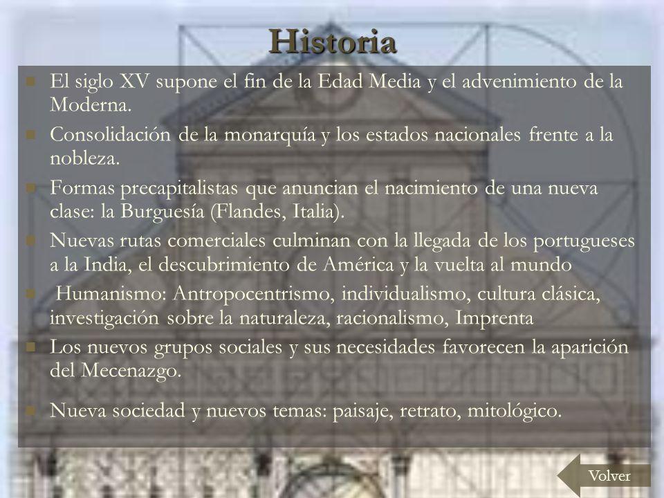 Historia El siglo XV supone el fin de la Edad Media y el advenimiento de la Moderna. Consolidación de la monarquía y los estados nacionales frente a l