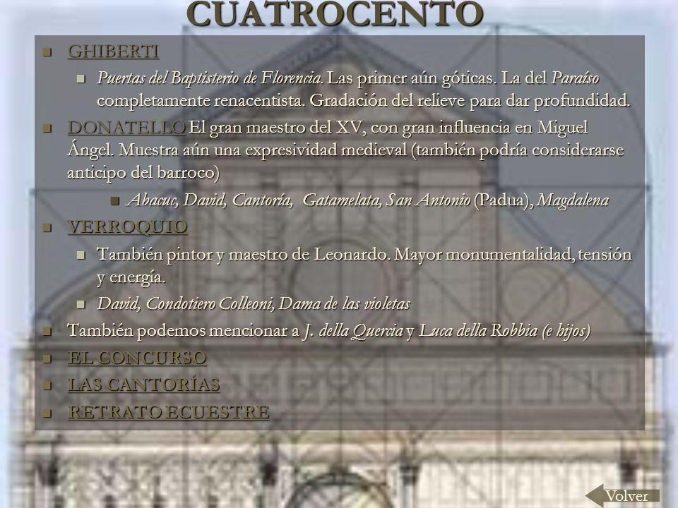 CUATROCENTO Volver GHIBERTI GHIBERTI GHIBERTI Puertas del Baptisterio de Florencia. Las primer aún góticas. La del Paraíso completamente renacentista.