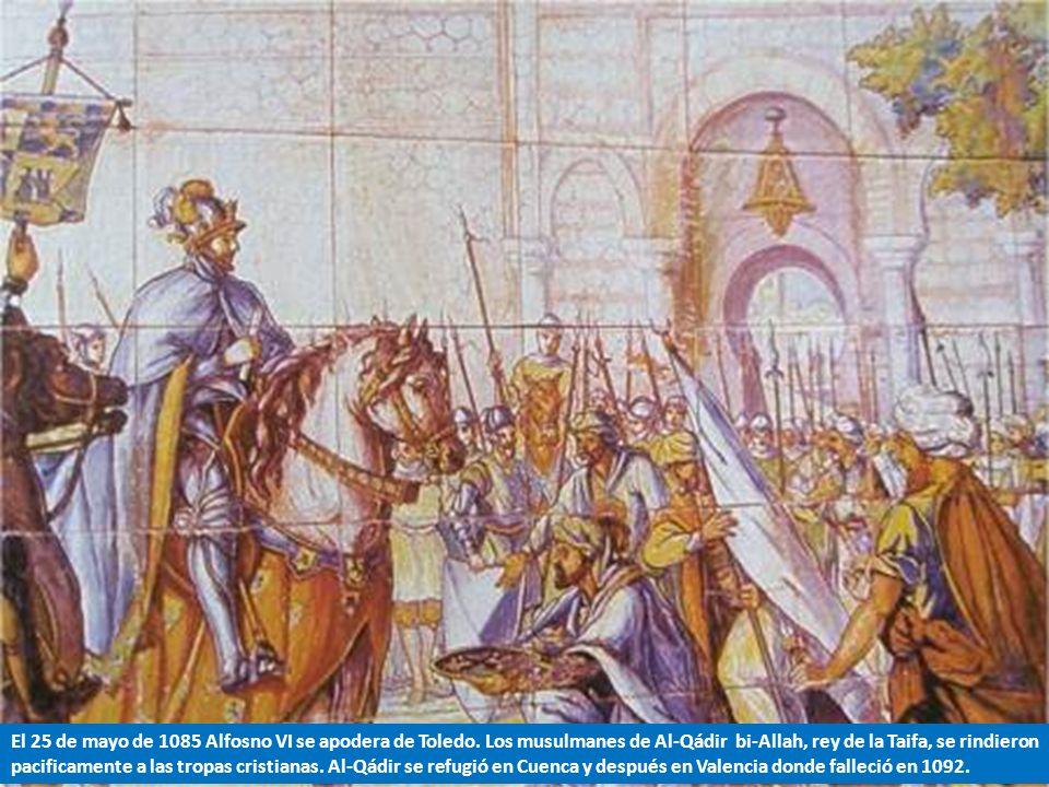 1.- Alfonso VI conquistó Toledo en 1085 al rendirse Al-Qadir, el rey moro de la Taifa toledana con el que, a pesar de todo, mantenía buenas relaciones