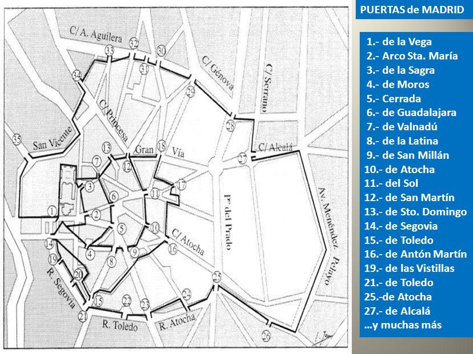 4.- Las murallas, árabe y cristiana, eran defensivas para proteger el Alcázar, Almudayna y Medina. 5.- Las cercas, más modernas, servían para el contr