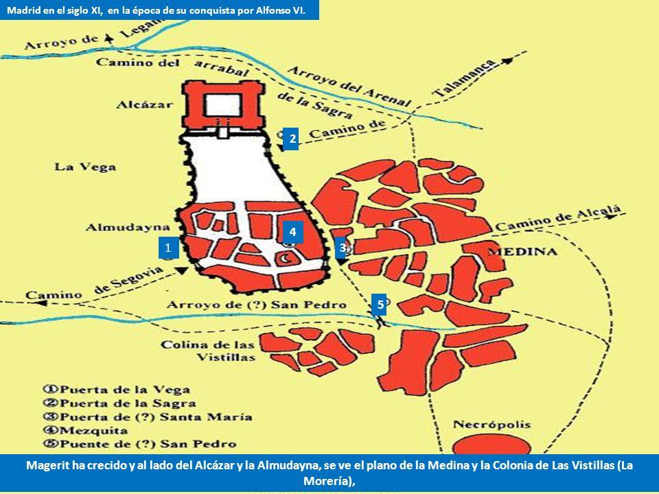 Madrid en el siglo IX época de su fundación Norte e Este Oeste Sur