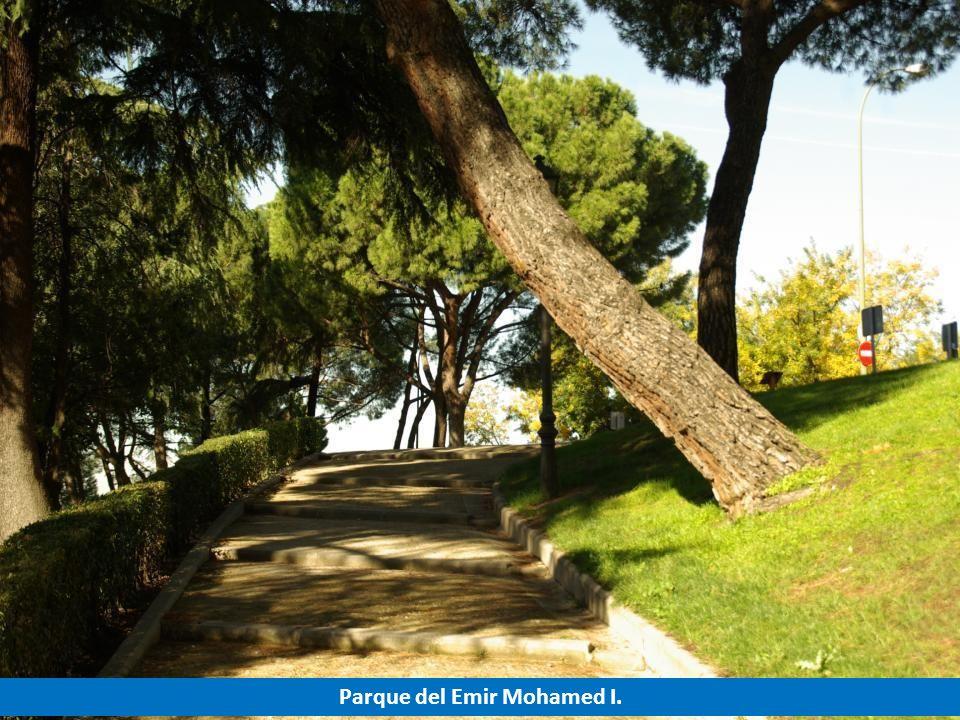 Desde los jardines del Parque del Emir, se puede contemplar los restos de la muralla árabe y la entrada a la cripta de la Catedral de la Almudena.