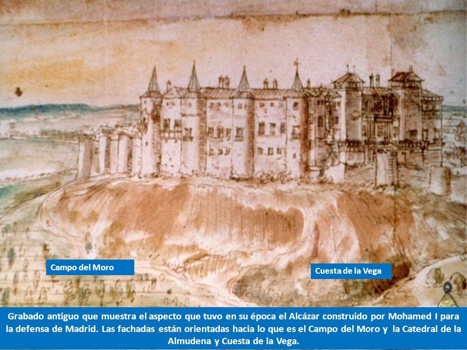 Grabado antiguo que muestra el aspecto que tuvo en su época el Alcázar construido por Mohamed I para la defensa de Madrid.
