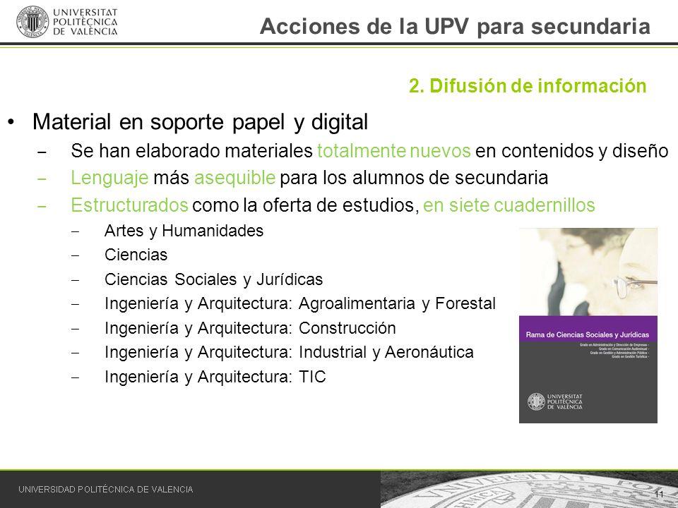 Acciones de la UPV para secundaria Material en soporte papel y digital Se han elaborado materiales totalmente nuevos en contenidos y diseño Lenguaje m