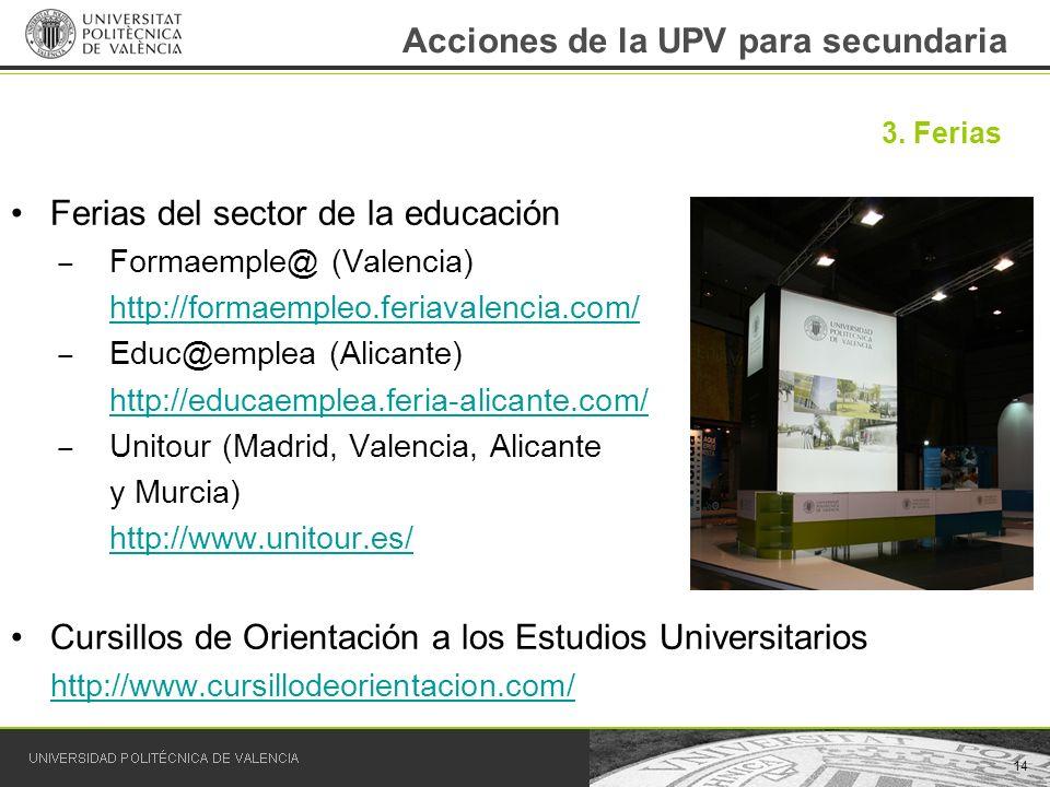 Acciones de la UPV para secundaria Ferias del sector de la educación Formaemple@ (Valencia) http://formaempleo.feriavalencia.com/ Educ@emplea (Alicant