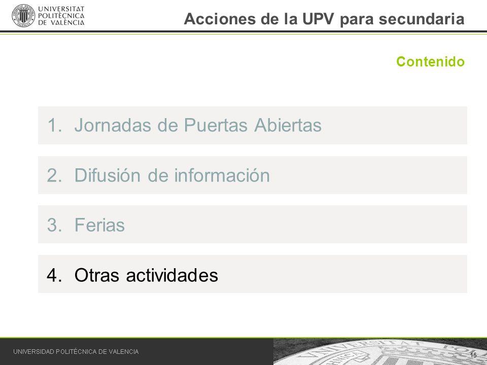 15 Contenido Acciones de la UPV para secundaria 1.Jornadas de Puertas Abiertas 2.Difusión de información 3.Ferias 4.Otras actividades