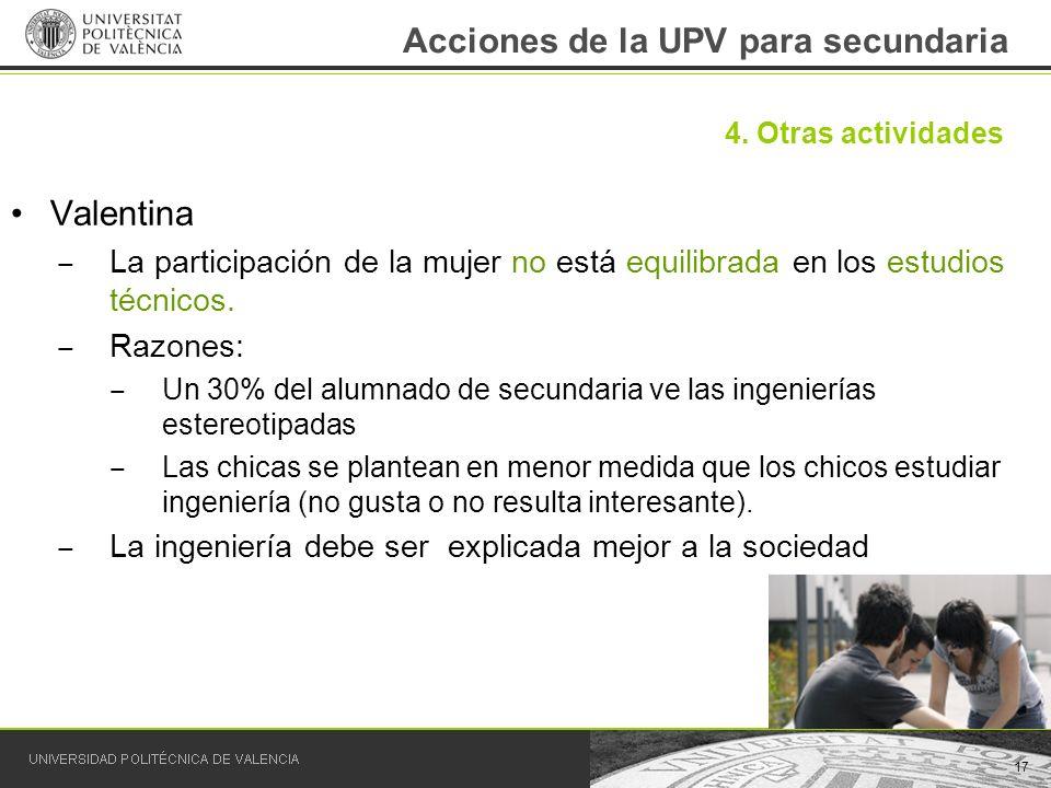 Acciones de la UPV para secundaria Valentina La participación de la mujer no está equilibrada en los estudios técnicos. Razones: Un 30% del alumnado d