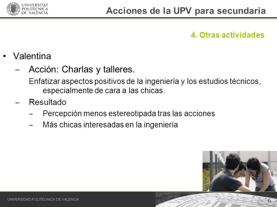 Acciones de la UPV para secundaria Valentina Acción: Charlas y talleres. Enfatizar aspectos positivos de la ingeniería y los estudios técnicos, especi
