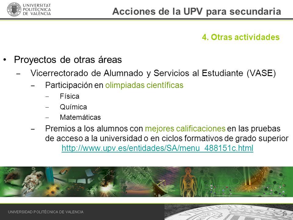 Acciones de la UPV para secundaria Proyectos de otras áreas Vicerrectorado de Alumnado y Servicios al Estudiante (VASE) Participación en olimpiadas ci