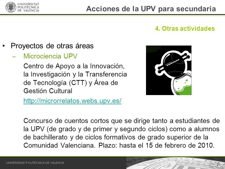 Acciones de la UPV para secundaria Proyectos de otras áreas Microciencia UPV Centro de Apoyo a la Innovación, la Investigación y la Transferencia de T
