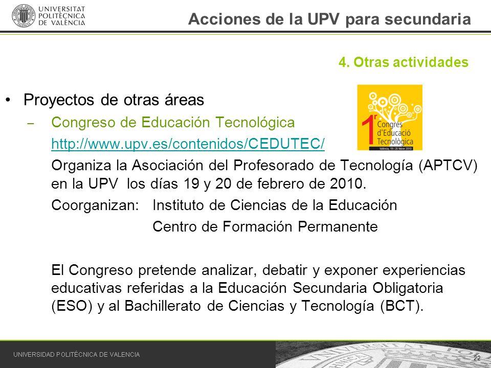 Acciones de la UPV para secundaria Proyectos de otras áreas Congreso de Educación Tecnológica http://www.upv.es/contenidos/CEDUTEC/ Organiza la Asocia