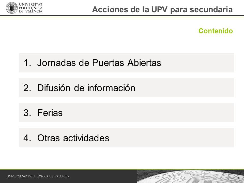 3 Contenido Acciones de la UPV para secundaria 1.Jornadas de Puertas Abiertas 2.Difusión de información 3.Ferias 4.Otras actividades