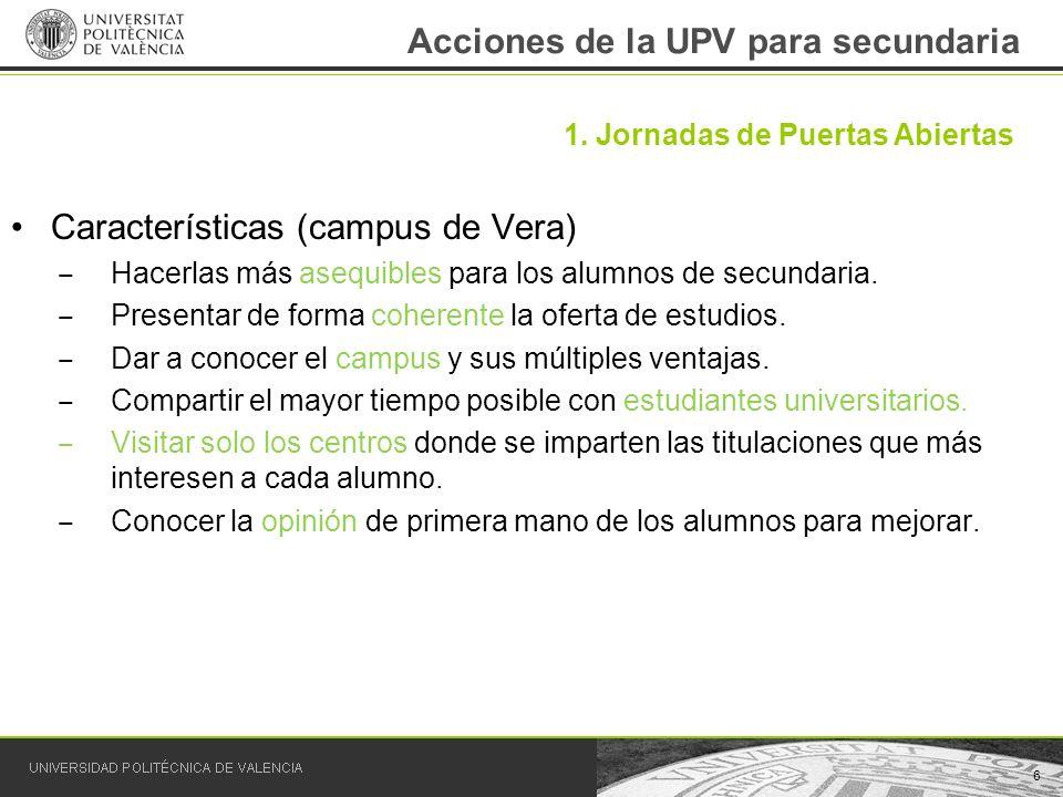 Acciones de la UPV para secundaria Características (campus de Vera) Hacerlas más asequibles para los alumnos de secundaria. Presentar de forma coheren