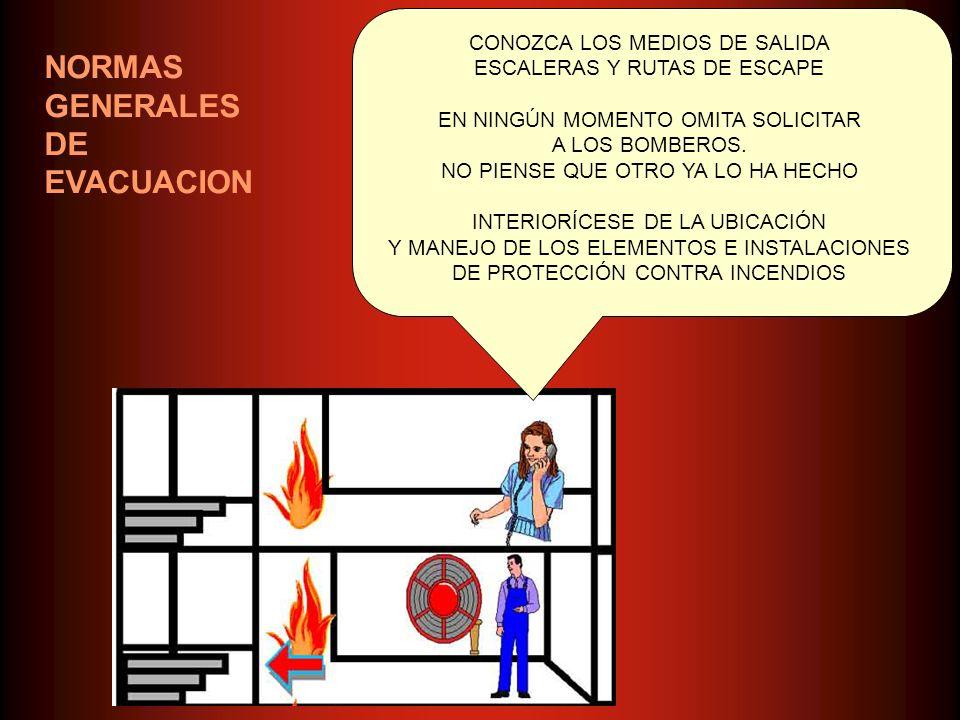 NORMAS GENERALES DE EVACUACION CONOZCA LOS MEDIOS DE SALIDA ESCALERAS Y RUTAS DE ESCAPE EN NINGÚN MOMENTO OMITA SOLICITAR A LOS BOMBEROS. NO PIENSE QU