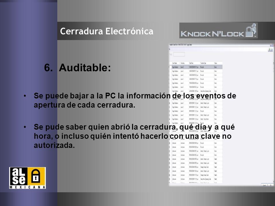10 Cerradura Electrónica 6. Auditable: Se puede bajar a la PC la información de los eventos de apertura de cada cerradura. Se pude saber quien abrió l